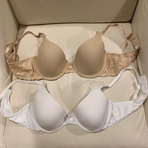 White and nude bras